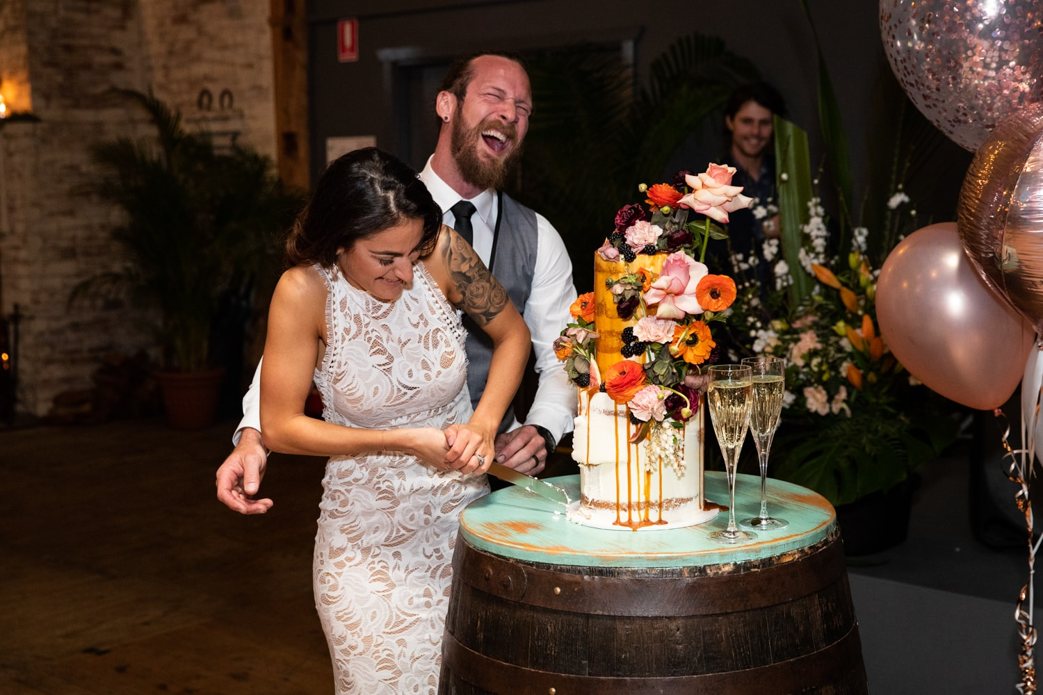 cake cutting - wedding day timeline