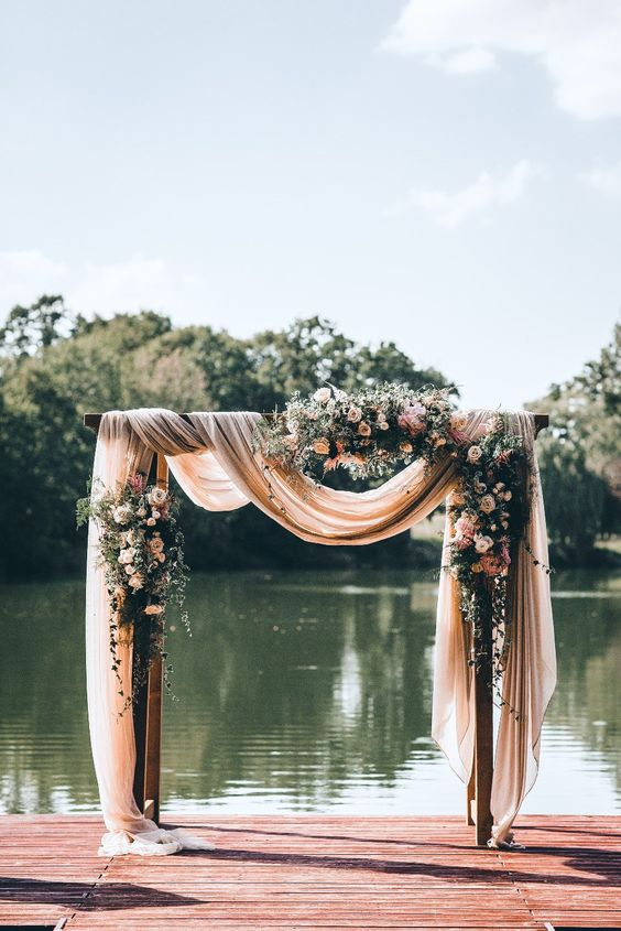 rectangle with fabric wedding arch design