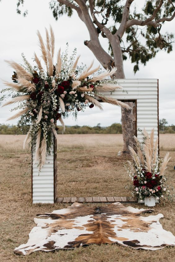 corrigated iron wedding arch design